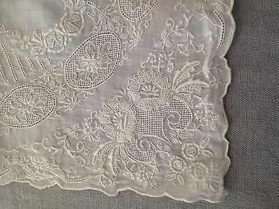 Antique bridal embroidery lace handkerchief