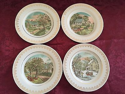 Currier & Ives The Four Seasons Decorative Collectible Plates 4 in Set