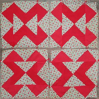 SET fo 9 VINTAGE Red Floral Feedsack QUILT BLOCKS