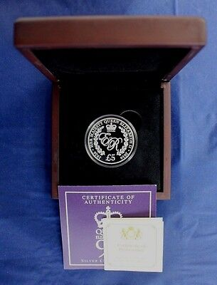 """2016 Guernsey Silver Proof £5 """"Queen's 90th Birthday"""" in Case with COA   (A3/15)"""