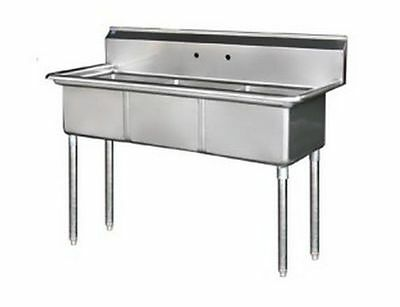 """3 Compartment Sink, 18""""x21""""x14"""", 304 S/S, No Drainboard, Arc Stainless S3-1821"""