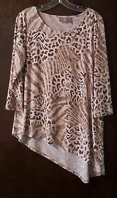 Chico's Womens Size 1 Asymmetrical Hem 3/4 Sleeve Blouse Ladies Casual Tops Top