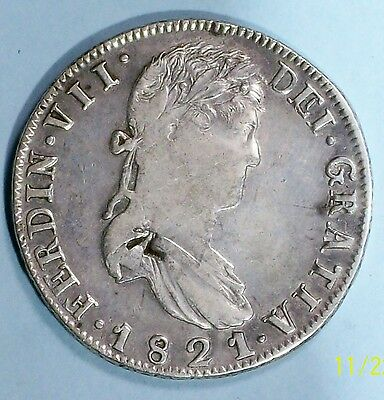 Mexico War Of Independence 8 Reales 1821 Rg Countermarked F+ 0.903 Silver Rare