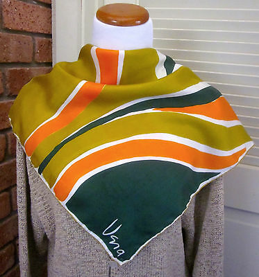 "Vintage 70's Vera Scarf 100% Silk Abstract Gold Orange Green Teal 26"" Square"