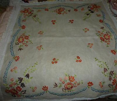Heavy linen hand embroidered vintage tablecloth with lace edges