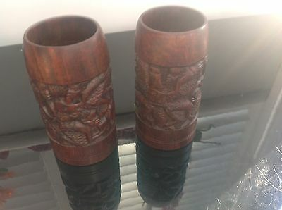 2 X Hand Carved Pots -  Pieces Of Treen