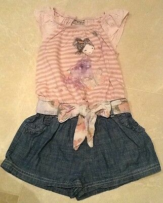 Baby Girls Next All In One Playsuit 12-18 Months Denim Shorts
