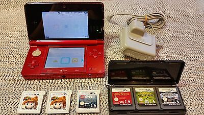 Nintendo 3DS Red Handheld System with games