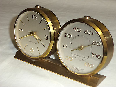 Vintage  *WESTCLOX * Tested Working Wind Up Alarm Clock With Thermometer