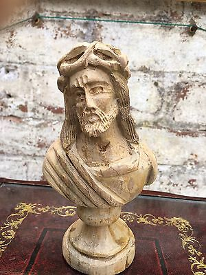 Vintage French Religious carved wooden figure of Jesus