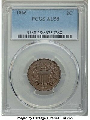 1866 Two Cent Piece PCGS AU-58 - No toning or corrosion
