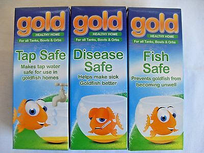 Interpet Gold water treatments for goldfish : Tap Fish & Disease Safe treatments