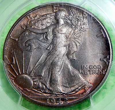 1942 U.S WALKING LIBERTY SILVER HALF  DOLLAR 50c PCGS MS64 FROM MINT SET TONED