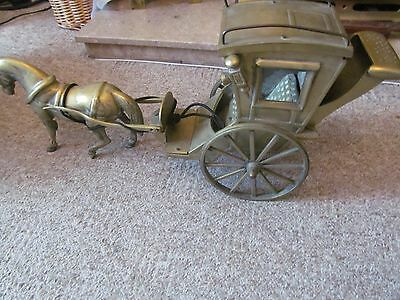 vintage patent pending very heavy brass victorian horse and carriage