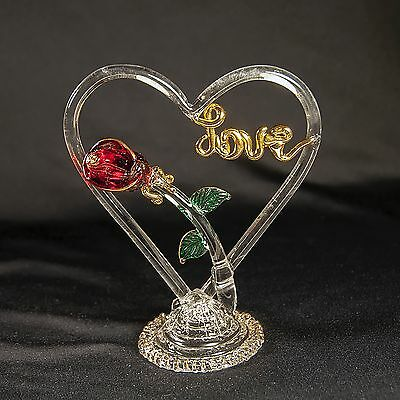 """GLASS BLOWN FIGURINE 4"""" Love w/ Heart Red Rose Flower HAND MADE COLLECTIBLE ART"""