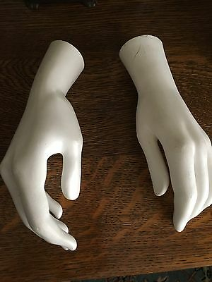 2 Vintage Female Mannequin Hand Right and left hands Painted White