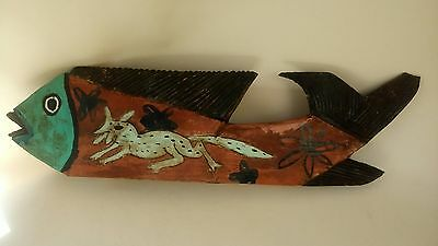 Vintage Aboriginal Art Carved Painted Wooden Fish 1960s