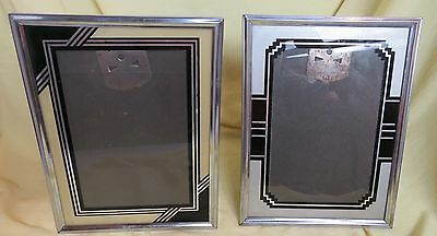 Authentic Antique Art Deco Picture Frame Reverse Painted Glass (lot of 2 frames)