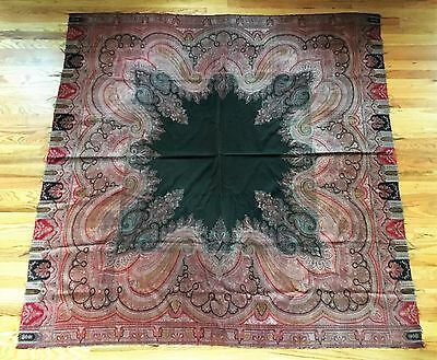 Antique 19th Century Wool Paisley Shawl