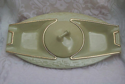 Vintage California Art Pottery Green with Gold Trim Large Covered Dish