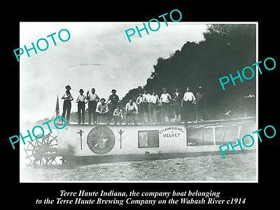 OLD HISTORIC PHOTO OF TERRE HAUTE BREWERY INDIANA, CHAMPAGNE VELVET BOAT c1914