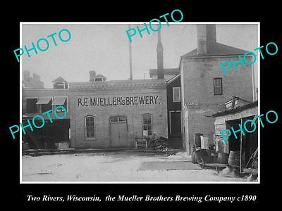 Old Large Historic Photo Of Two Rivers Wisconsin Muellers Brewery Factory 1890 1
