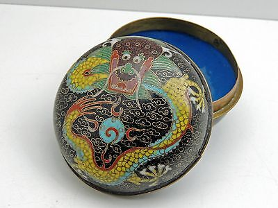 Vintage Chinese CLOISONNE LIDDED BOX with Dragon to Lid
