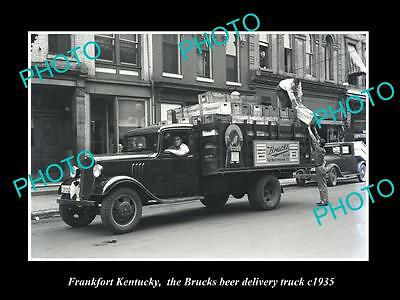 Old Large Historic Photo Of Frankfort Kentucky, Brucks Beer Delivery Truck 1935