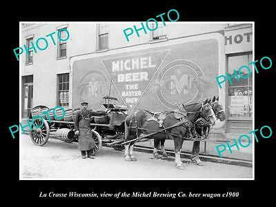 OLD LARGE HISTORIC PHOTO OF LA CROSSE WISCONSIN, THE MICHEL BREWERY WAGON c1900