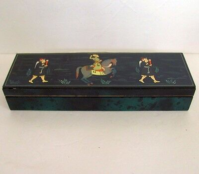 Vintage Hand Painted Faux Malachite Leather Box Islamic Art