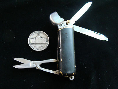 Vintage KOWELL Combination Lighter / Pocket Knife Brass Painted Black w Scissors