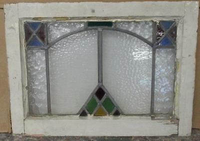 "OLD ENGLISH LEADED STAINED GLASS WINDOW Festive Geometric Abstract 20.5"" x 15"""