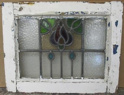 """OLD ENGLISH LEADED STAINED GLASS WINDOW Intricate Floral Abstract 20.25"""" x 16"""""""