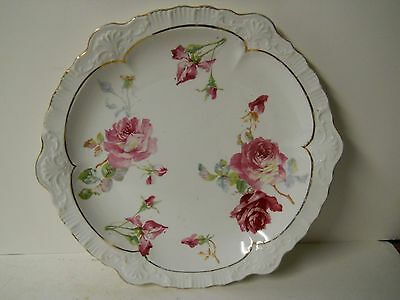 sevres plate painted roses gold trim 10 1/2 inches