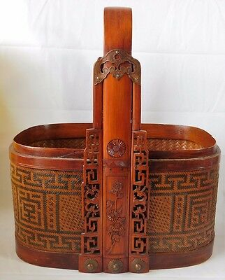 Atq Chinese Bamboo Rattan Carved Ornate Wood Brass Stacking Wedding Basket