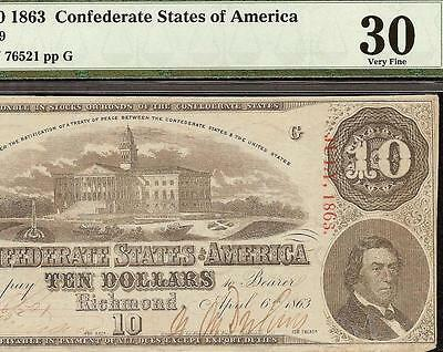 1863 $10 Confederate States Currency Civil War Note Csa Paper Money T-59 Pmg