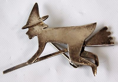 Vtg FAR FETCHED Witch on a Broomstick Halloween Sterling Silver Pin Brooch