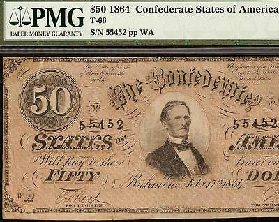 1864 $50 Dollar Bill Confederate States Currency Civil War Note Money T-66 Pmg