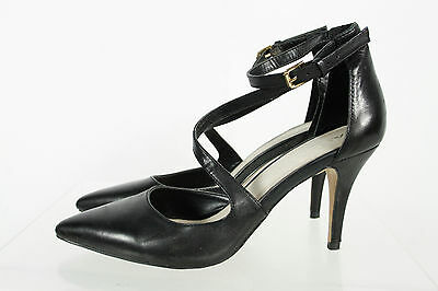 Aldo Black Leather Pointed Toe Ankle Strap Stiletto Pumps Size 7.5