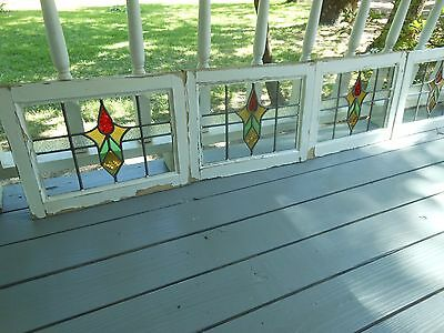 M10-224 Older Pretty Multi-Color English Leaded Stain Glass Window 4 Available