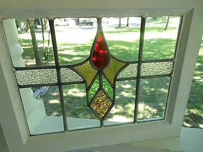 M10-216 Older Pretty Multi-Color English Leaded Stain Glass Window