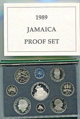 1989 Jamaica Proof Set 9 Coins 2 Silver Original Pack w/ COA Limited Edition 500