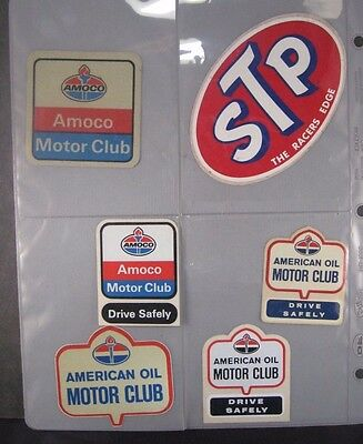 Amoco, American Oil Motor Club, STP Lot of 6 Vintage Stickers, Mint Condition
