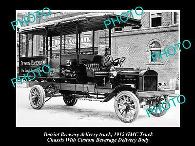 OLD LARGE HISTORIC PHOTO OF DETRIOT BREWING Co DELIVERY TRUCK, 1912 GMC TRUCK