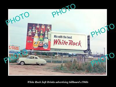 OLD LARGE HISTORIC PHOTO OF WHITE ROCK SOFT DRINK ADVERTISING BILLBOARD c1960s 2