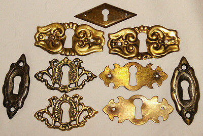 Lot of Solid Brass, Pressed Brass KEYHOLE COVERS - ESCUTCHEONS