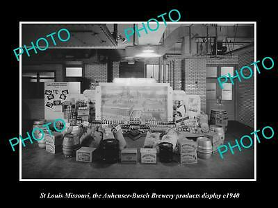 OLD LARGE HISTORIC PHOTO OF St LOUIS MISSOURI, ANHEUSER BUSCH BEER PRODUCTS 1940