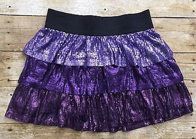The Childrens Place Girls Size 14 Skirt Sequins Tiered Purple Elastic Waist