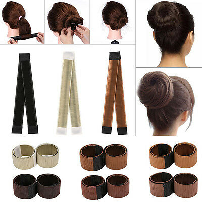 Women Girl Hair Styling Donut Former Foam French Twist DIY Tool Bun Maker Tools