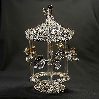 """Spinning GLASS Carousel HandCrafted Figurine Statue 6"""" Collectible ART Decor NEW"""